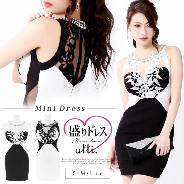 [SMLサイズ]flower刺繍バイカラータイトミニドレス