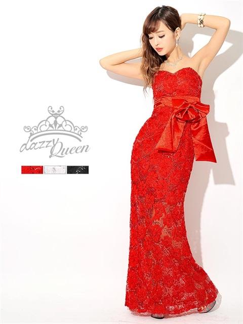 フラワーモチーフチュールベアロングドレス