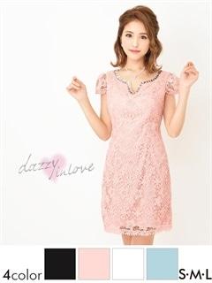 デコルテビジュー花柄刺繍レース×サテン袖付きタイトミニドレス