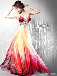 [drexie]ウエスト魅せグラデシフォンAラインキャミロングドレス[送料無料]
