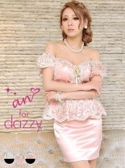 [an for dazzy]カメオモチーフ付きオフショルレースペプラムタイトミニドレス[AOC-DZY-06][送料無料]