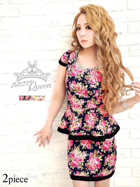 袖付きペプラムタイトミニドレス