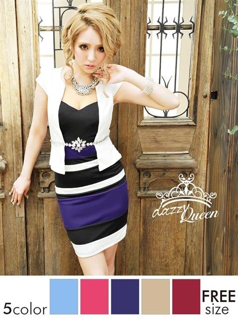 ビジュー袖付きペプラムタイトミニドレス
