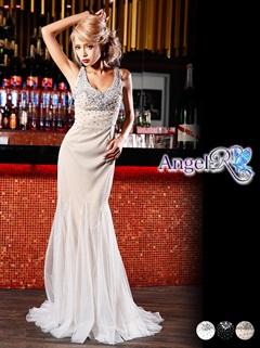 【P★10倍】[Angel R]胸元ビジュー背中魅せマーメイドロングドレス[AR5222][送料無料]
