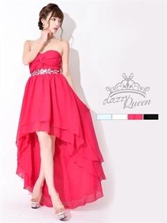 ビジュー付ワンカラーシンプルベアテールカットロングドレス