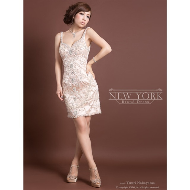 [Andy][NEWYORK BRAND DRESS]ビジューデザインノースリタイトミニドレス