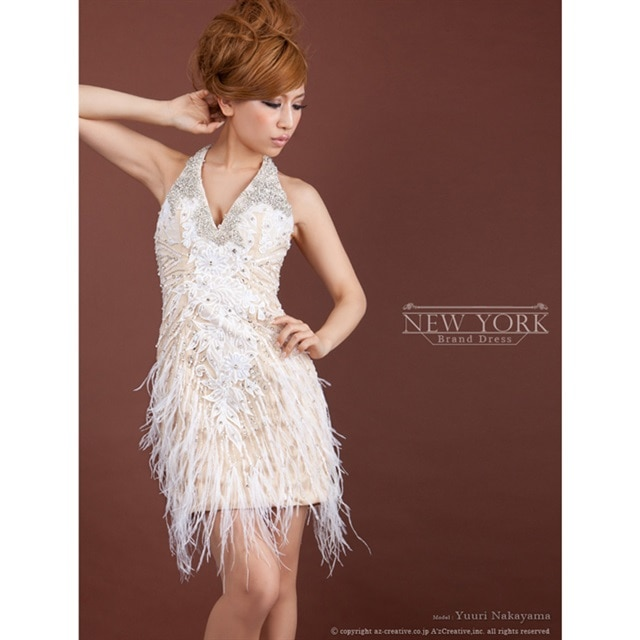 [Andy][NEWYORK BRAND DRESS]ビジューデザインホルターネックタイトミニドレス