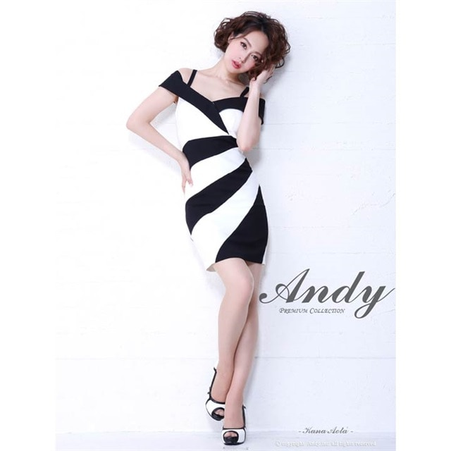 [Andy]バイカラーキャミオフショルタイトミニドレス