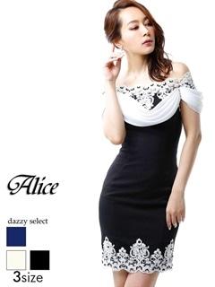 【P★10倍】[Alice][SMLサイズ]オフショルレースタイトミニドレス[3サイズ展開][52648][送料無料]
