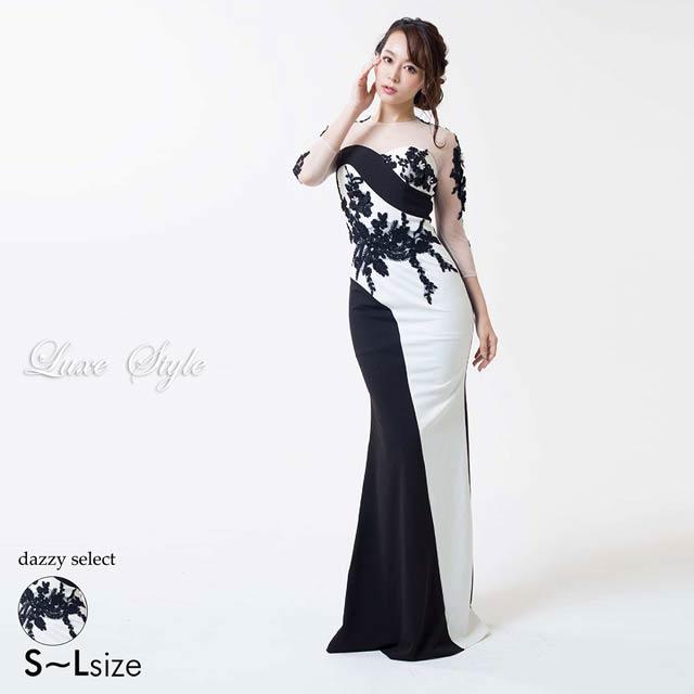 [LuxeStyle][51709]モノトーンデコラティブフラワーモチーフマーメイドロングドレス