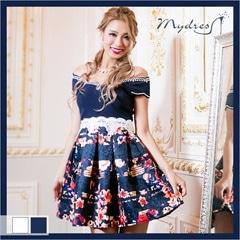 オフショル花柄フレアミニドレス[my dress]