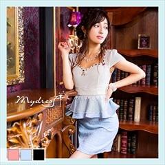 袖つきペプラムデザインツイードタイトミニドレス[my dress]