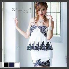 贅沢刺繍ベアペプラムタイトミニドレス[my dress]