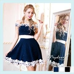 オフショルフレアツイードミニドレス[my dress]