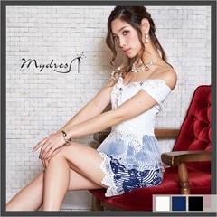 ストライプフワラープリントペプラムタイトミニドレス[my dress]