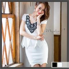 刺繍レース袖つきペプラムタイトミニドレス[my dress]