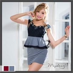モノトーンカラーオフショルペプラムタイトミニドレス[my dress]