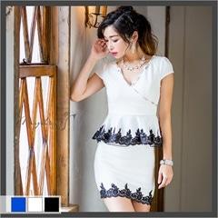 レース装飾ペプラム袖つきタイトミニドレス[my dress]