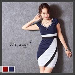 バイカラーシンプル袖つきタイトミニドレス[my dress]