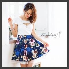 袖つき花柄フレアミニドレス[my dress]