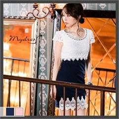 レース切り替え袖付きタイトミニドレス[my dress]