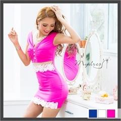 お腹シースルー袖つきタイトミニドレス[my dress]