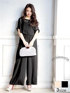 [SM~MLサイズ]ドルマントップス付きオールインワンパンツドレス[3サイズ展開]