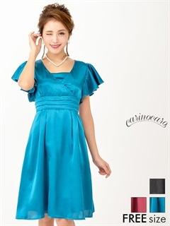 サテンフレアスリーブAラインひざ丈ドレス
