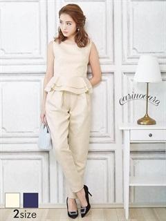 [SM/Mサイズ]ジャガードぺプラムパンツドレス[2サイズ展開]