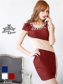 [S/Mサイズ]アシンメトリーバイカラー袖付きタイトミニドレス[2サイズ展開]
