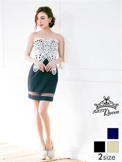 [SM/Mサイズ]裾シアー刺繍レースバイカラータイトベアミニドレス[2サイズ展開]
