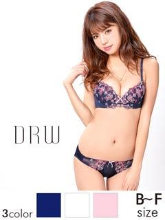 【大きいサイズ有】リボン&桜柄刺繍ブラジャー&ショーツ