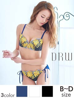 【LOVISTY】Lily刺繍ブラジャー&サイド紐フルバックショーツ