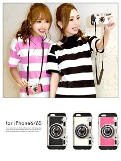 iPhone6/6sストラップ付きカメラモチーフケース