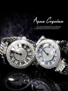 [全2種]Anne Coquine-アンコキーヌ- ぐるぐる時計ステンレス×ビジュー3連ブレスビッグフェイスウォッチ[送料無料]