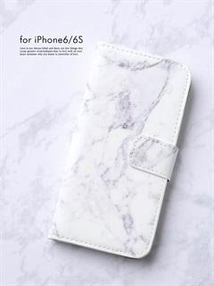 iPhone6/6sロゴ入り手帳型ケース 大理石柄