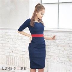 [S/Mサイズ]denim & color line dress -デニム&カラーラインドレス-[2サイズ展開][送料無料][lunenoireedit]