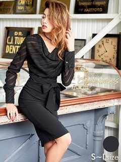 [S/Mサイズ]リボン付きシフォンストライプタイトドレス[2サイズ展開][送料無料][change clothes]