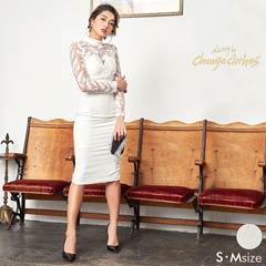 [S/Mサイズ]フェザーチュール刺繍タイトドレス[2サイズ展開][送料無料][change clothes]