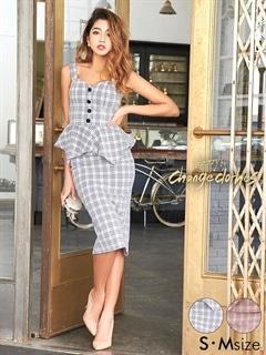 [2ピース][S/Mサイズ]チェック柄ウエストペプラムタイトドレス[2サイズ展開][送料無料][change clothes]