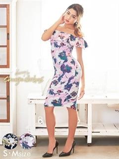 [S/Mサイズ]レトロ大判フラワー柄オフショルタイトドレス[2サイズ展開][change clothes]