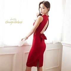 キム ボラム着用[S/Mサイズ]back open & ribbon dress -バックオープン&リボンドレス-[2サイズ展開][change clothes][送料無料]