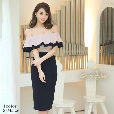 韓国ドレス パーティードレス キャバドレス 美シルエット トレンド コリアンドレス change clothes チェンジクローズ