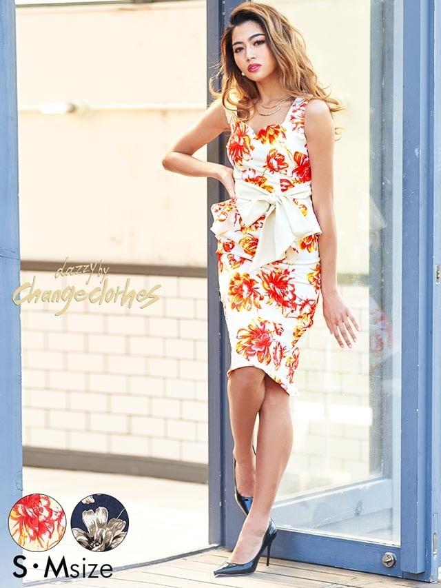 5/2UP[S/Mサイズ]水彩flowerプリントウエストリボンタイトドレス[2サイズ展開][送料無料][change clothes]