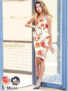 [S/Mサイズ]水彩flowerプリントウエストリボンタイトドレス[2サイズ展開][送料無料][change clothes]