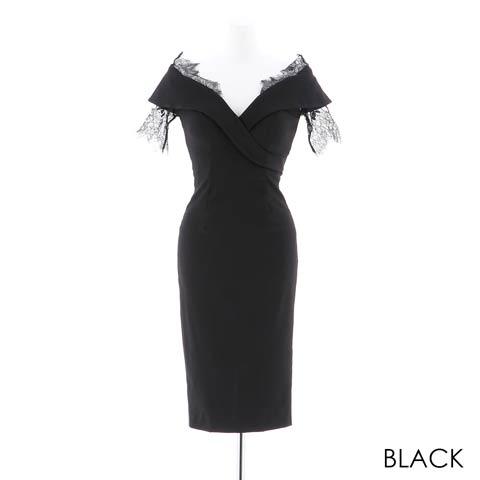 朝比パメラ着用[韓国ドレス]off-Shoulder lace dress [change clothes](ブラック-Sサイズ)
