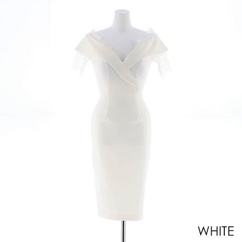 朝比パメラ着用[韓国ドレス]off-Shoulder lace dress [change clothes](ホワイト-Sサイズ)