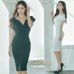 [韓国ドレス]off-Shoulder lace dress [change clothes][送料無料]