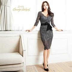 キム ボラム着用[S/Mサイズ]lace & waist ribbon dress -レース&ウエストリボンドレス-[2サイズ展開]