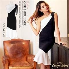 [SMLサイズ]バイカラーワンショルマーメイドドレス[3サイズ展開][change clothes][送料無料]